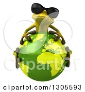 Clipart Of A 3d Light Green Springer Frog Wearing Sunglasses And Hugging Planet Earth Royalty Free Illustration