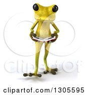 Clipart Of A 3d Light Green Springer Frog Walking And Reading A Book Royalty Free Illustration by Julos