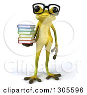 Clipart Of A 3d Bespectacled Light Green Springer Frog Holding A Stack Of Books Royalty Free Illustration by Julos