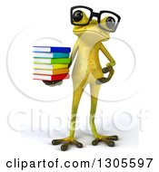 Clipart Of A 3d Bespectacled Light Green Springer Frog Holding And Presenting A Stack Of Books Royalty Free Illustration by Julos