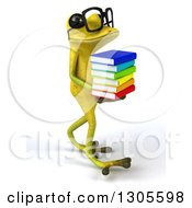Clipart Of A 3d Bespectacled Light Green Springer Frog Walking To The Right And Holding A Stack Of Books Royalty Free Illustration by Julos