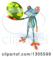 Clipart Of A 3d Turquoise Springer Frog Holding Up Planet Earth Royalty Free Illustration