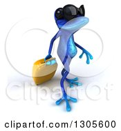 Clipart Of A 3d Blue Springer Frog Wearing Sunglasses And Walking To The Right With A Rolling Suitcase Royalty Free Illustration by Julos