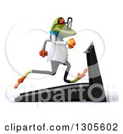 Clipart Of A 3d Bespectacled Green Doctor Springer Frog Facing Right And Running On A Treadmill Royalty Free Illustration