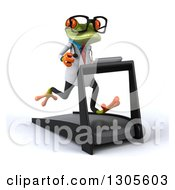 Clipart Of A 3d Bespectacled Green Doctor Springer Frog Facing Slightly Right And Running On A Treadmill Royalty Free Illustration