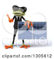 Clipart Of A 3d Green Business Springer Frog Wearing Sunglasses Giving A Thumb Up And Holding A Solar Panel Royalty Free Illustration by Julos