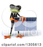 Clipart Of A 3d Green Business Springer Frog Wearing Sunglasses Holding And Pointing To A Solar Panel Royalty Free Illustration by Julos