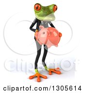 Clipart Of A 3d Green Business Springer Frog Facing Slightly Right And Holding A Piggy Bank Royalty Free Illustration