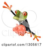 Clipart Of A 3d Green Business Springer Frog Leaping To The Left And Holding A Piggy Bank Royalty Free Illustration