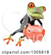 Clipart Of A 3d Green Business Springer Frog Leaping To The Right And Holding A Piggy Bank Royalty Free Illustration