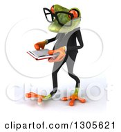 Clipart Of A 3d Bespectacled Green Business Springer Frog Walking To The Left And Reading A Book Royalty Free Illustration
