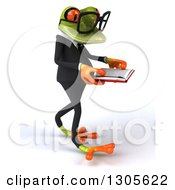 Clipart Of A 3d Bespectacled Green Business Springer Frog Walking To The Right And Reading A Book Royalty Free Illustration