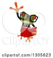Clipart Of A 3d Bespectacled Green Business Springer Frog Leaping And Reading A Book Royalty Free Illustration