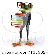 Clipart Of A 3d Bespectacled Green Business Springer Frog Facing Slightly Left And Holding A Stack Of Books Royalty Free Illustration