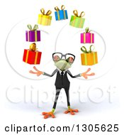 Clipart Of A 3d Bespectacled Green Business Springer Frog Juggling Gifts Royalty Free Illustration