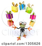 Clipart Of A 3d Bespectacled Green Business Springer Frog Looking Up And Juggling Gifts Royalty Free Illustration