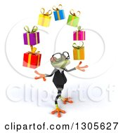 Clipart Of A 3d Bespectacled Green Business Springer Frog Facing Right Looking Up And Juggling Gifts Royalty Free Illustration