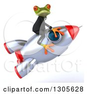 Clipart Of A 3d Green Business Springer Frog Facing Right And Riding A Rocket Royalty Free Illustration by Julos