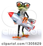 Clipart Of A 3d Bespectacled Green Business Springer Frog Walking And Carrying A Rocket Royalty Free Illustration by Julos