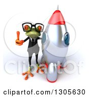 Clipart Of A 3d Bespectacled Green Business Springer Frog Looking Up Holding Up A Thumb And Standing By A Rocket Royalty Free Illustration by Julos