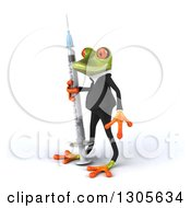 Clipart Of A 3d Green Business Springer Frog Facing Left And Standing With A Giant Vaccine Syringe Royalty Free Illustration