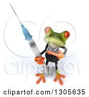 Clipart Of A 3d Green Business Springer Frog Looking Up Pointing To And Standing With A Giant Vaccine Syringe Royalty Free Illustration