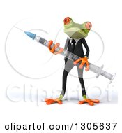 Clipart Of A 3d Green Business Springer Frog Carrying A Giant Vaccine Syringe Royalty Free Illustration
