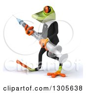 Clipart Of A 3d Green Business Springer Frog Walking To The Left And Carrying A Giant Vaccine Syringe Royalty Free Illustration