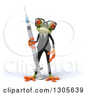 Clipart Of A 3d Bespectacled Green Business Springer Frog Standing With A Giant Vaccine Syringe Royalty Free Illustration