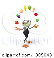 Clipart Of A 3d Bespectacled Green Business Springer Frog Facing Right And Juggling Produce Royalty Free Illustration