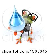 Clipart Of A 3d Bespectacled Green Business Springer Frog Holding Up A Water Drop Royalty Free Illustration