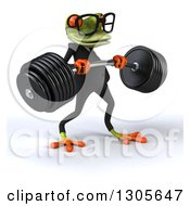 Clipart Of A 3d Bespectacled Green Business Springer Frog Facing Right And Lifting A Heavy Barbell Royalty Free Illustration