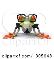 Clipart Of A 3d Bespectacled Green Business Springer Frog On All Fours Royalty Free Illustration