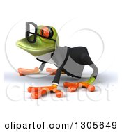 Clipart Of A 3d Bespectacled Green Business Springer Frog On All Fours Facing Left Royalty Free Illustration