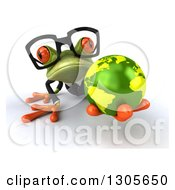 Clipart Of A 3d Bespectacled Green Business Springer Frog On All Fours Holding Out Earth Royalty Free Illustration