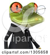 Clipart Of A 3d Bespectacled Green Business Springer Frog Avatar Facing Right Royalty Free Illustration