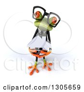 Clipart Of A 3d Bespectacled Green Business Springer Frog Looking Up And Holding A House Royalty Free Illustration