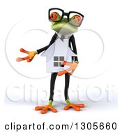 Clipart Of A 3d Bespectacled Green Business Springer Frog Presenting And Holding A House Royalty Free Illustration