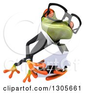 Clipart Of A 3d Bespectacled Green Business Springer Frog Leaping To The Right And Holding A House Royalty Free Illustration