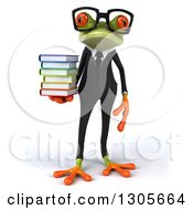 3d Bespectacled Green Business Springer Frog Holding A Stack Of Books