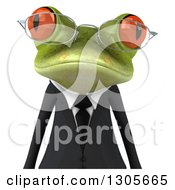 Clipart Of A 3d Bespectacled Green Business Springer Frog Avatar Royalty Free Illustration