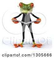 Clipart Of A 3d Bespectacled Green Business Springer Frog Reading A Newspaper Royalty Free Illustration