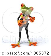 Clipart Of A 3d Green Hawaiian Springer Frog Musician In A Suit Playing A Ukulele Royalty Free Illustration