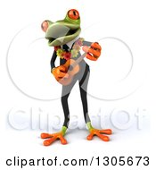 Clipart Of A 3d Green Hawaiian Springer Frog Musician In A Suit Playing A Ukulele And Singing Royalty Free Illustration