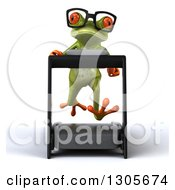 Clipart Of A 3d Bespectacled Green Springer Frog Running On A Treadmill Royalty Free Illustration