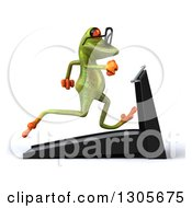 Clipart Of A 3d Bespectacled Green Springer Frog Facing Right And Running On A Treadmill Royalty Free Illustration