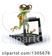 Clipart Of A 3d Bespectacled Green Springer Frog Facing Slightly Right And Running On A Treadmill Royalty Free Illustration