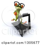 Clipart Of A 3d Bespectacled Green Springer Frog Facing Slightly Right Looking At The Viewer And Running On A Treadmill Royalty Free Illustration