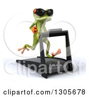 Clipart Of A 3d Green Springer Frog Wearing Sunglasses Facing Slightly Right And Running On A Treadmill Royalty Free Illustration