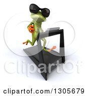 Clipart Of A 3d Green Springer Frog Wearing Sunglasses Looking At The Viewer Facing Slightly Right And Running On A Treadmill Royalty Free Illustration
